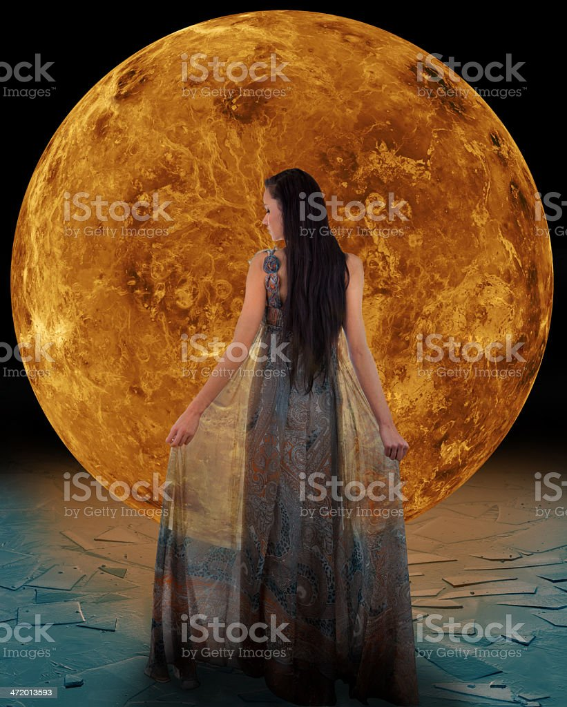 Ice fairy in front of a Venus stock photo