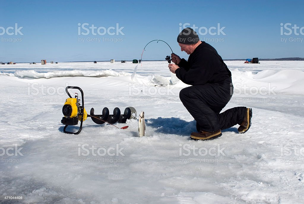 Ice Fisherman stock photo