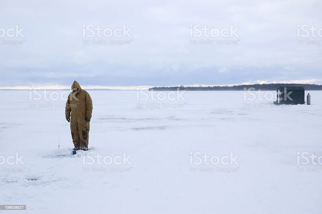 Ice Fisherman ; Watching, Waiting royalty-free stock photo