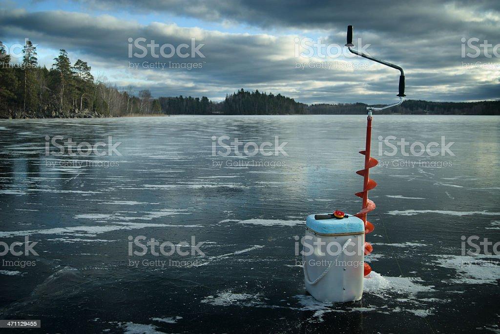 Ice fishing equipment royalty-free stock photo