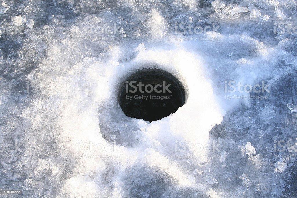 Ice Fishing hole royalty-free stock photo