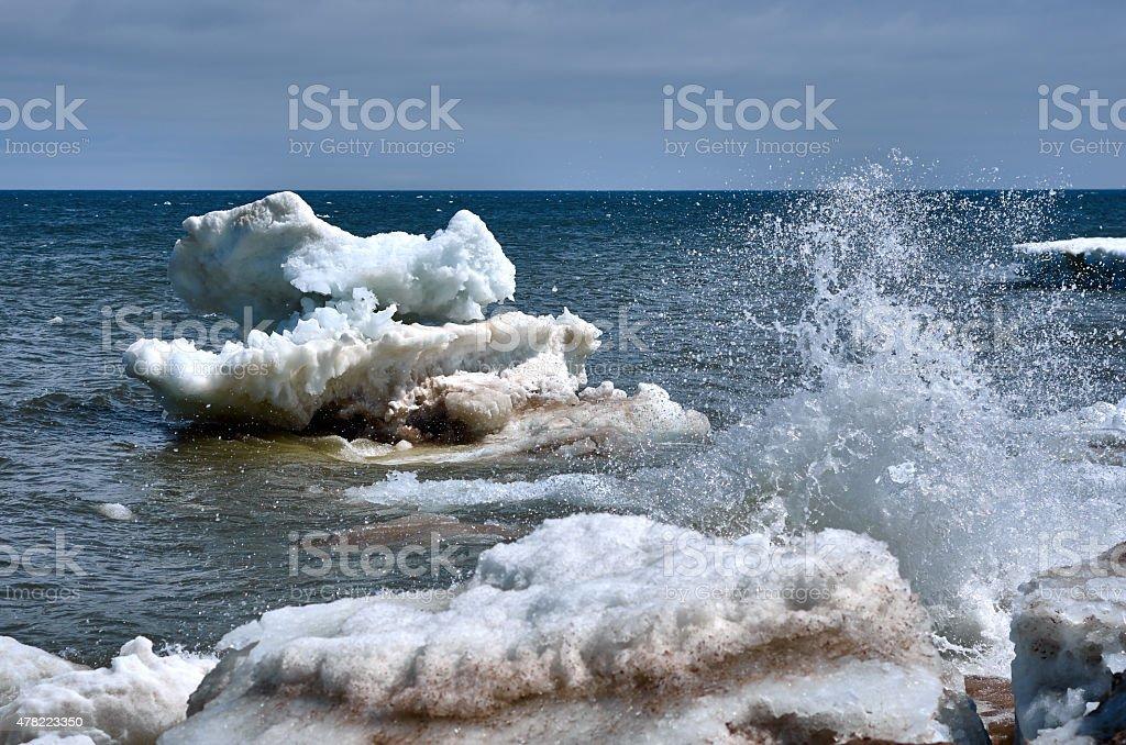 Ice floe sea beach stock photo