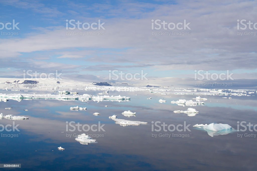Ice floes and clouds, Antarctic Sound stock photo