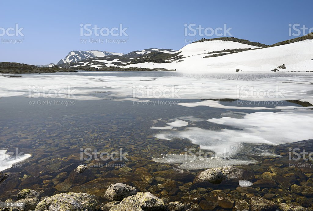 Ice floes in mountain lake are melting by summer warmth royalty-free stock photo