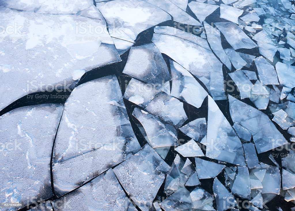 Ice floes on the river on a cold winter day stock photo