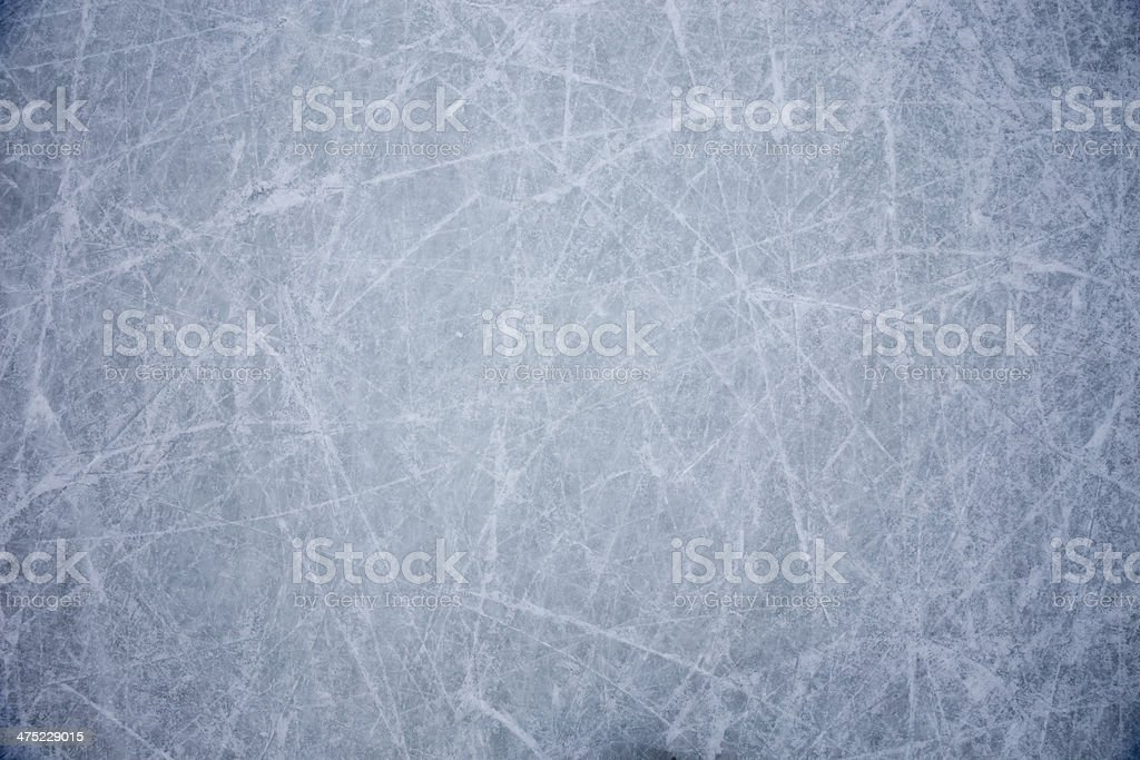 Ice floor with scratches from hockey and skating stock photo