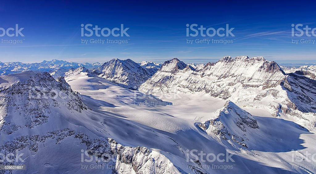 Ice flow Valley in Jungfrau region helicopter view in winter stock photo