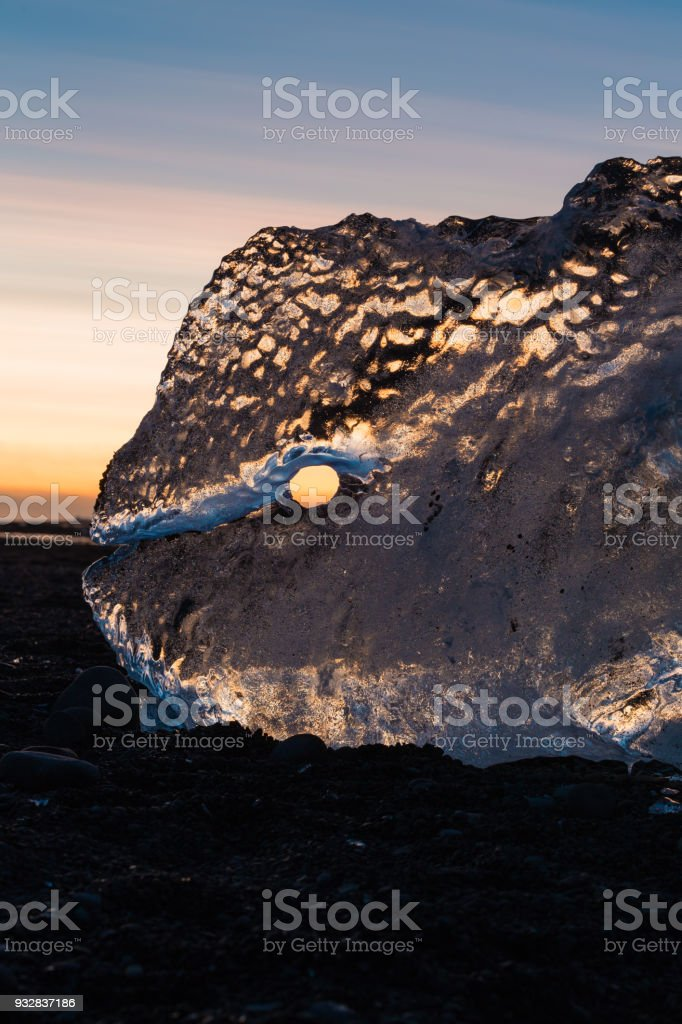 ice formation at Diamond beach at sunset stock photo