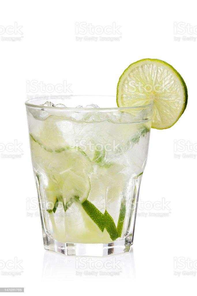 Ice fresh lemonade glass on a white background stock photo
