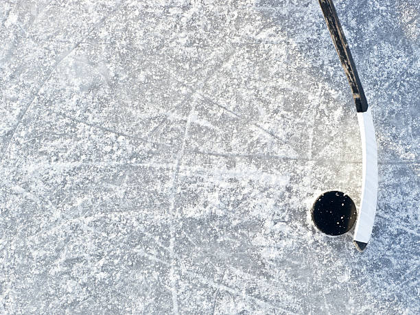 ice hockey background - hockey puck stock photos and pictures