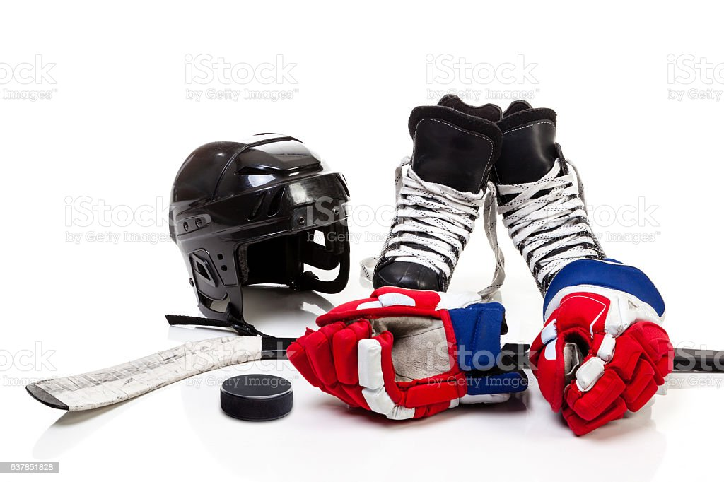 Ice Hockey Equipment Isolated on White Background stock photo