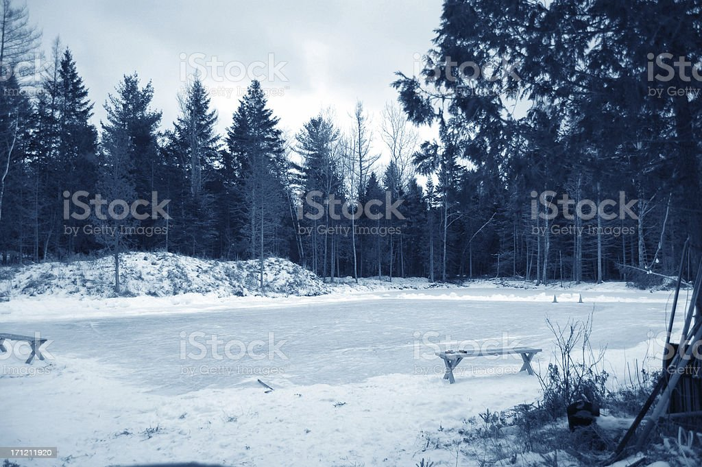 Ice Hockey Frozen Pond Rink royalty-free stock photo