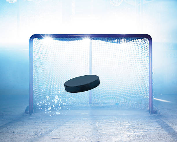 ice hockey goal - hockey puck stock photos and pictures
