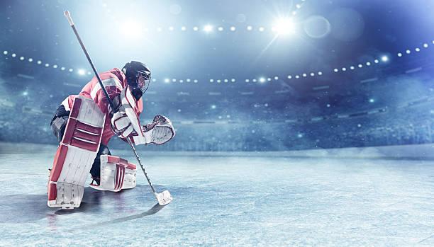 Portero de hockey sobre hielo - foto de stock