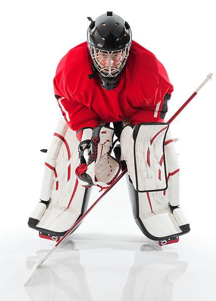 Ice hockey goalie posing in full gear