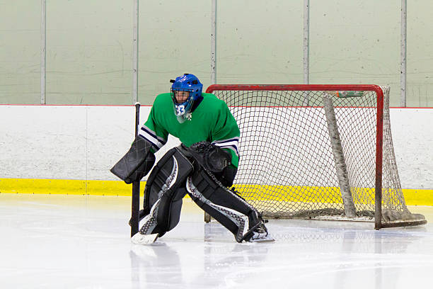 Ice hockey goaltender in action stock photo
