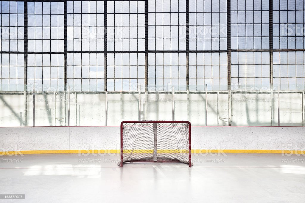 Ice hockey net in an arena royalty-free stock photo