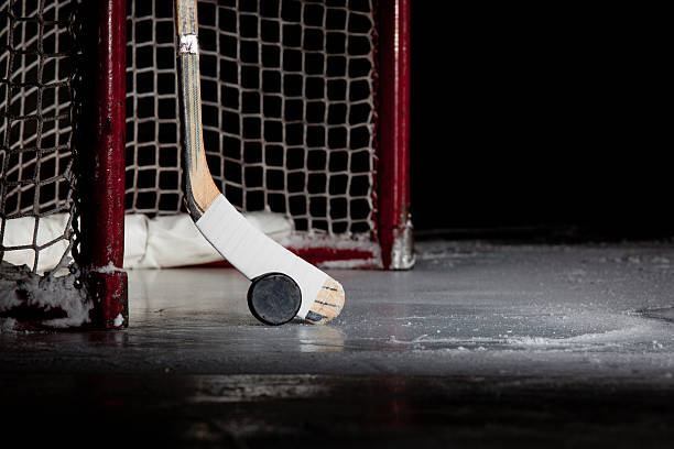 ice hockey net, puck, and stick - hockey puck stock photos and pictures