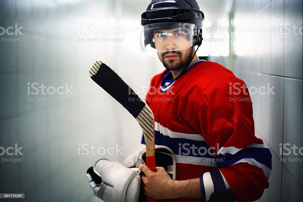 Ice hockey player before the game. stock photo