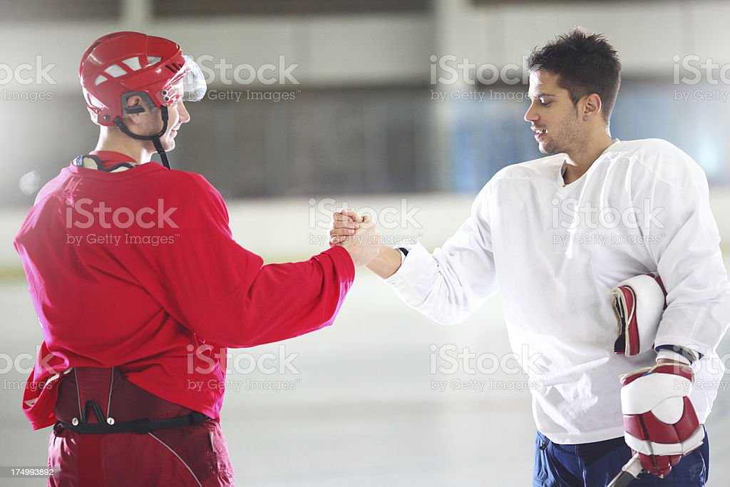 Ice hockey players after game. royalty-free stock photo