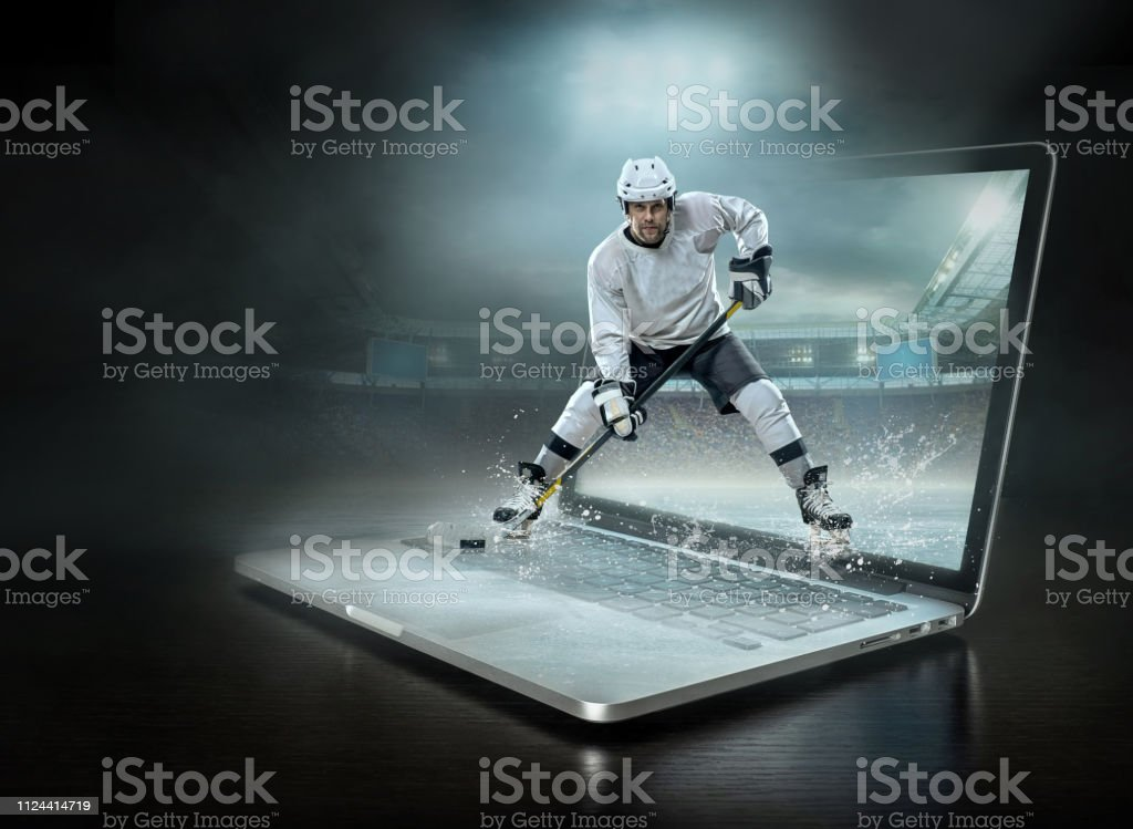 ice hockey Players in dynamic action in a professional sport game...