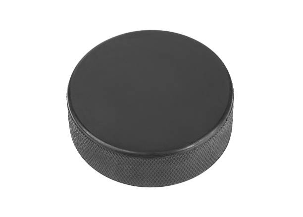 Ice hockey puck stock photo