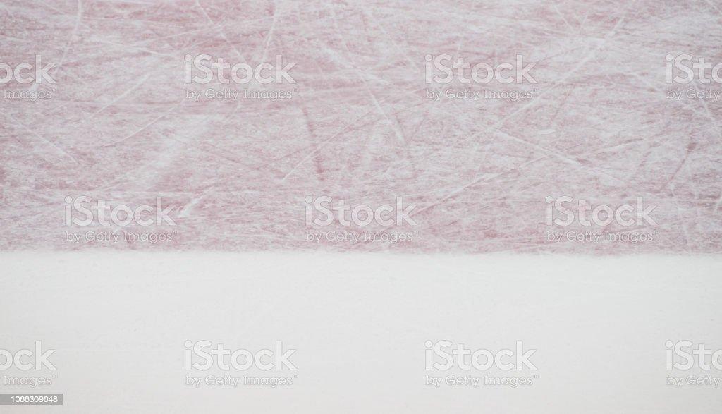 Ice hockey rink red markings closeup, winter sport background