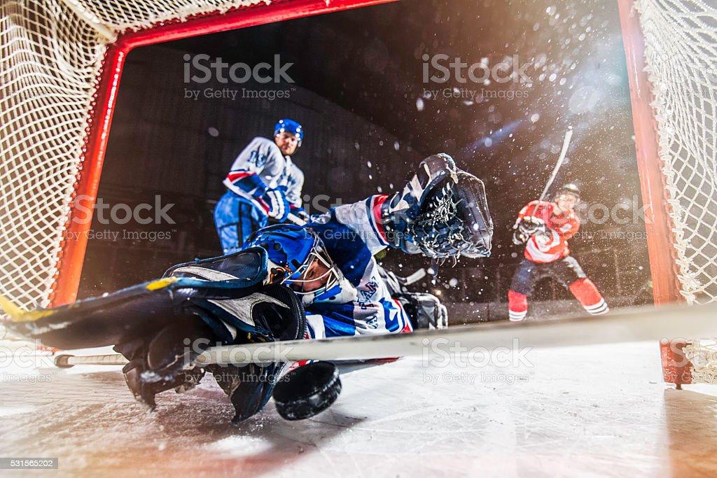 Ice hockey scoring stock photo