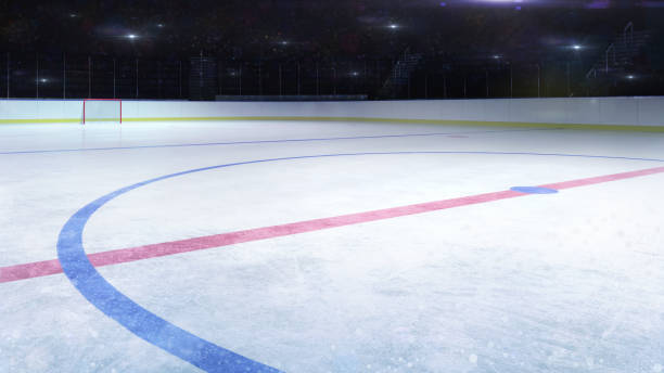 ice hockey stadium middle rink general view and camera flashes behind - hockey stock pictures, royalty-free photos & images