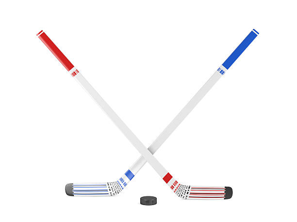ice hockey sticks and puck - hockey stick stock pictures, royalty-free photos & images