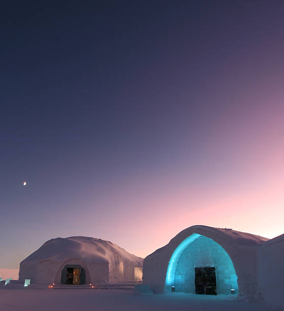 ice hotel located in sweden in the morning - norrbotten bildbanksfoton och bilder