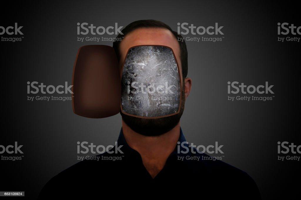 Ice inside a man's head. stock photo