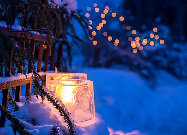 lanternas de gelo - luz da vela - fotografias e filmes do acervo