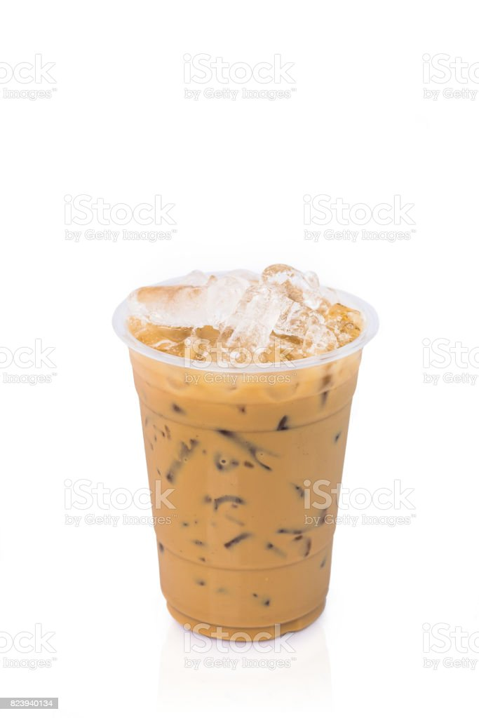 Ice latte coffee on white background stock photo