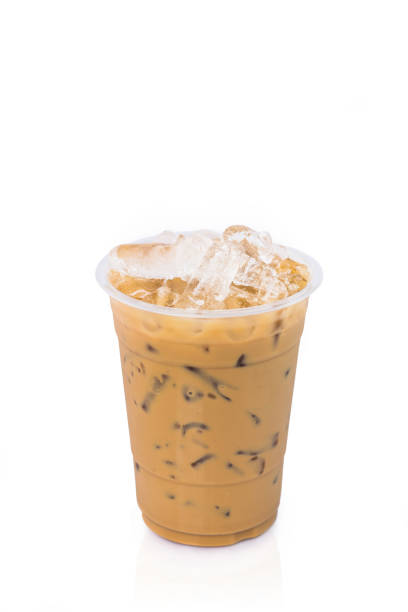 Ice latte coffee on white background stock photo