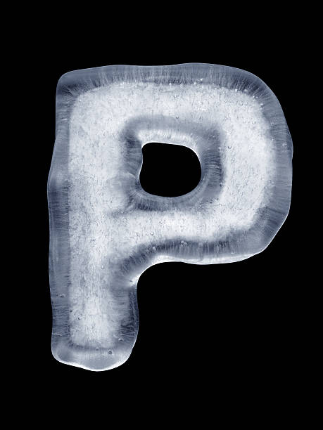 Ice Letter P High resolution render of the Letter P made of ice on black letter p stock pictures, royalty-free photos & images