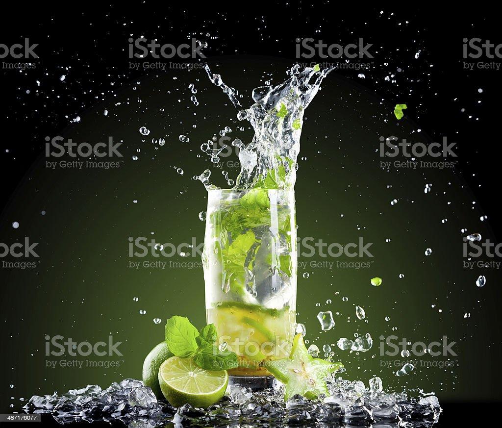 Ice mojito drink with splash stock photo