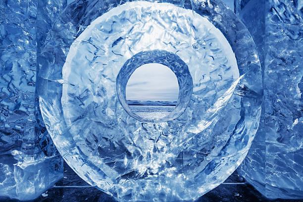 Ice on Baikal surface stock photo