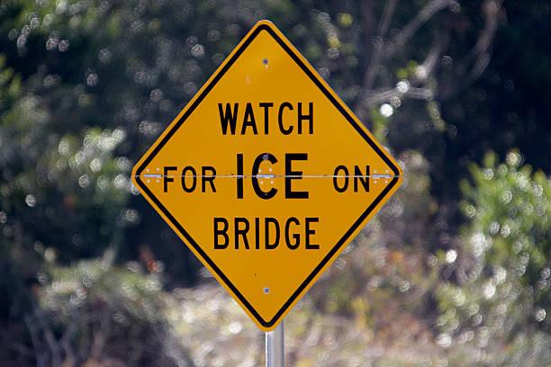 Ice on Bridge stock photo