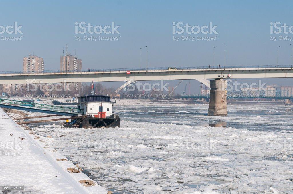 Ice on Danube river in Novi Sad, Serbia. stock photo