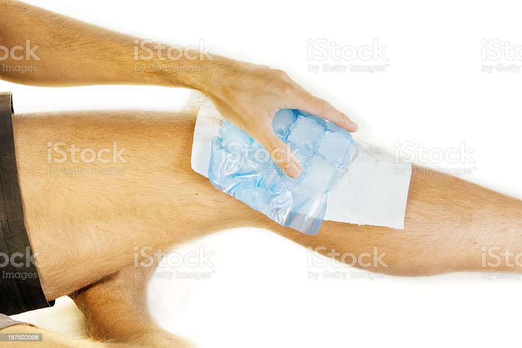 Ice on knee joint stock photo