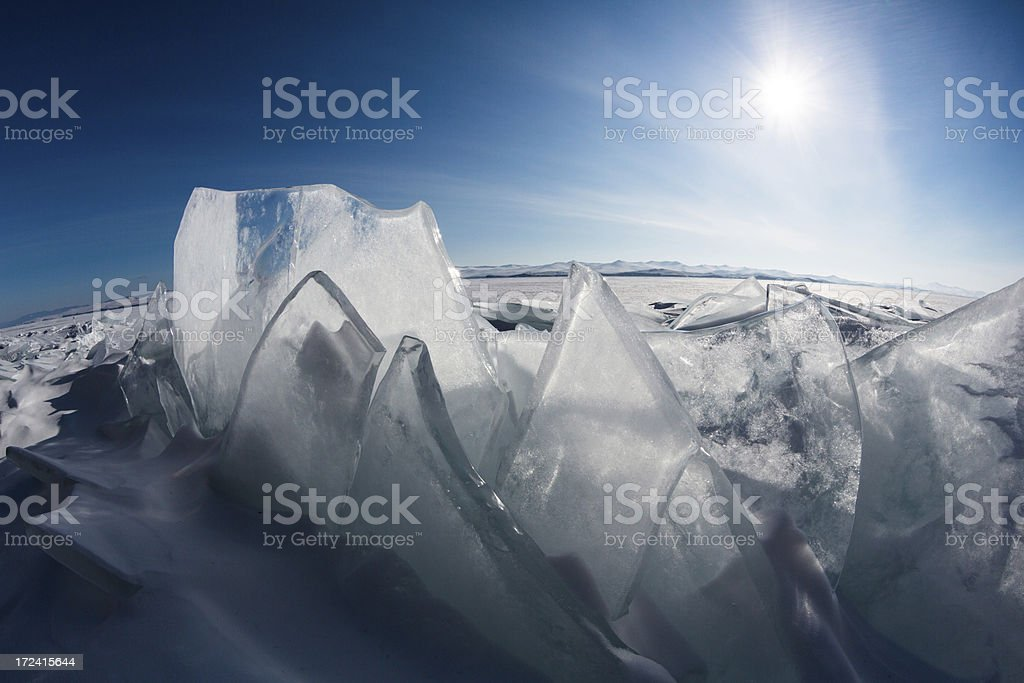 Ice on Lake Baikal stock photo
