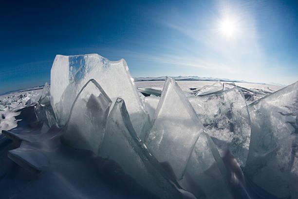 Ice on Lake Baikal stock photo