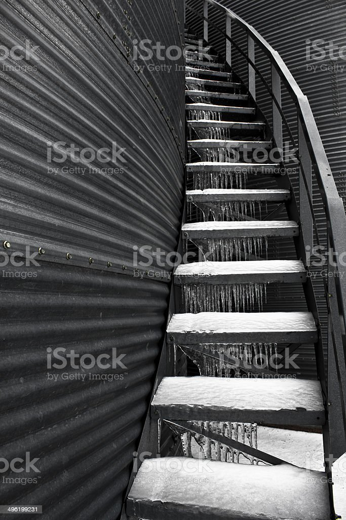 Ice on Metal Staircase royalty-free stock photo
