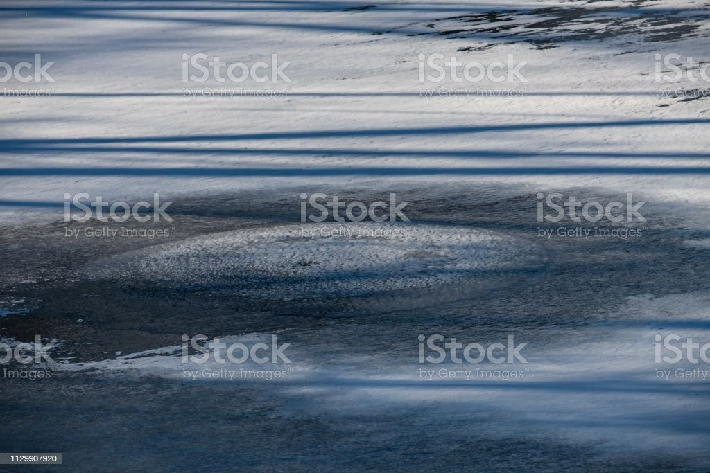 DSC1041D850 Ice on Pond stock photo