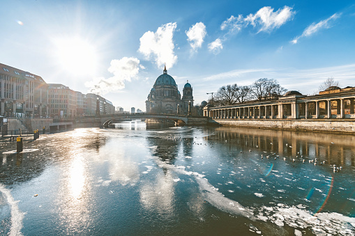 ice on river with berlin cathedral