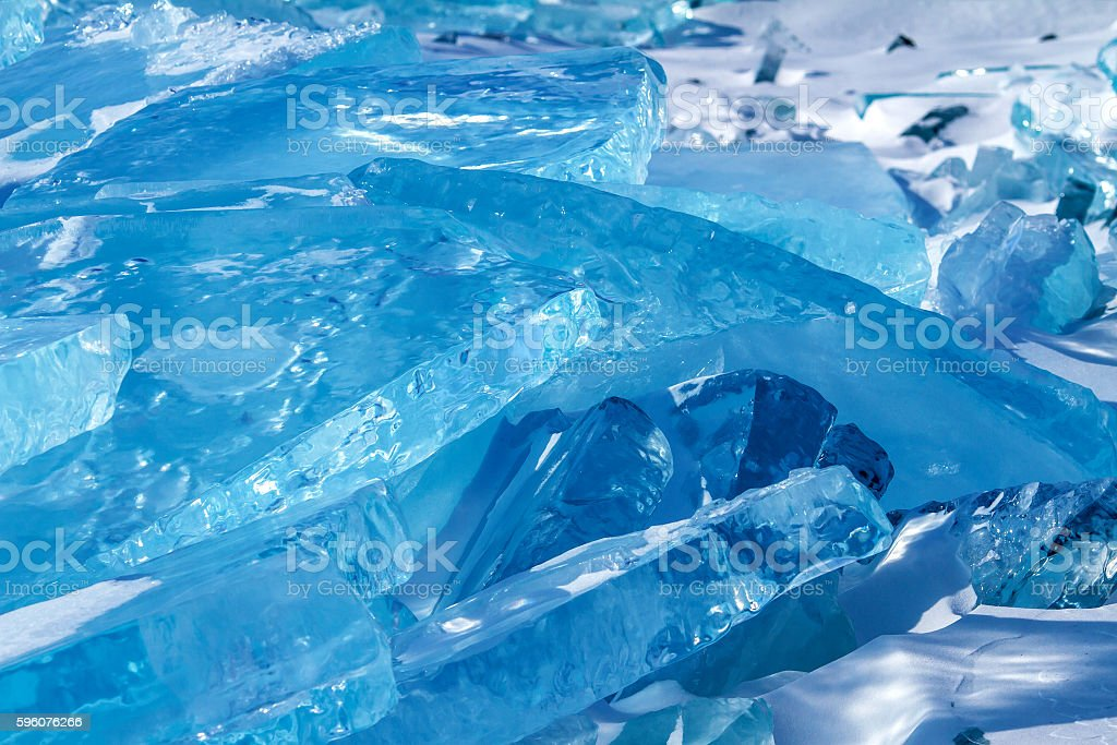 Ice on the Baikal lake royalty-free stock photo
