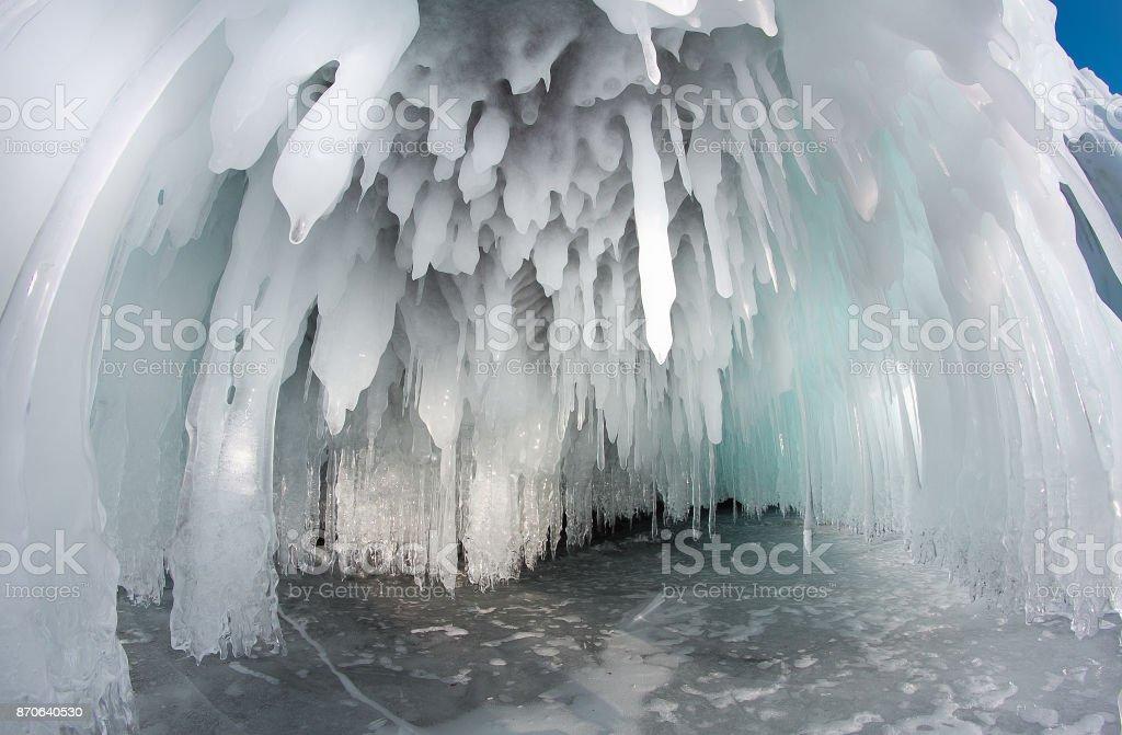 Ice on the Baikal rocks stock photo