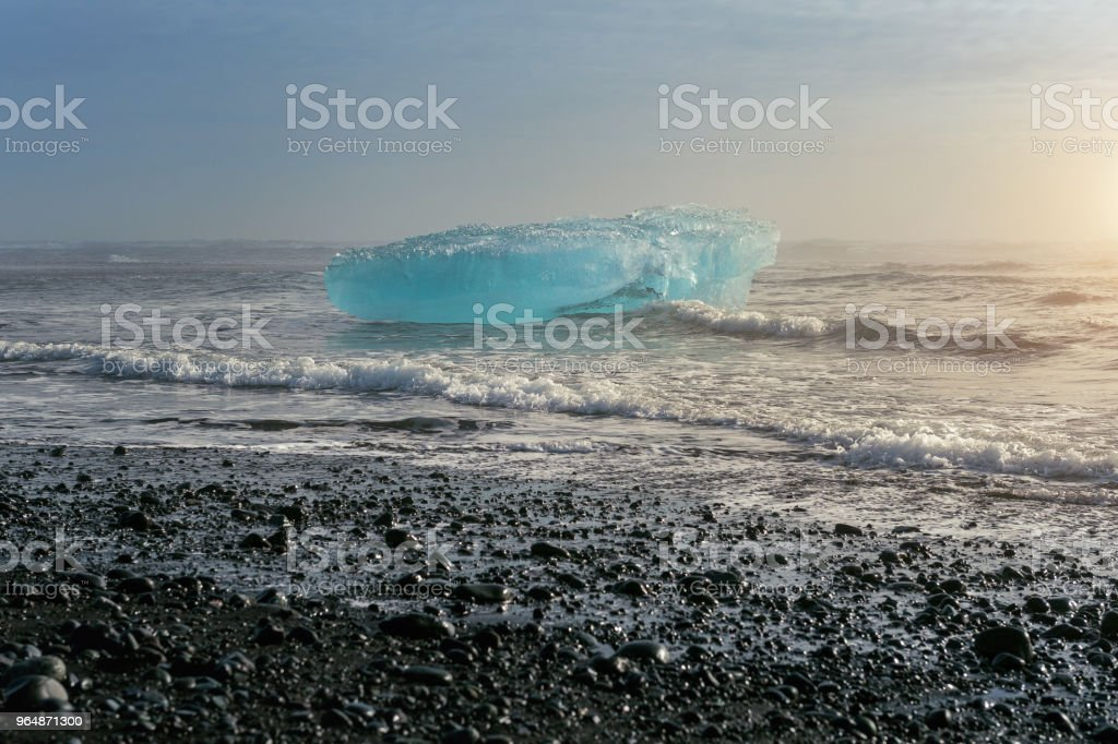 Ice on the black beach near Jokulsarlon glacier lagoon, daimond beach, Iceland. royalty-free stock photo