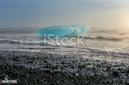 Ice On The Black Beach Near Jokulsarlon Glacier Lagoon Daimond Beach Iceland Stock Photo & More Pictures of Arctic